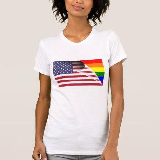 American Flag Gay Pride Rainbow Flag T-Shirt