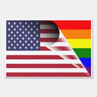 American Flag Gay Pride Rainbow Yard Sign