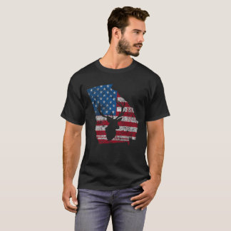 American Flag Georgia Deer Hunting Distressed T-Shirt