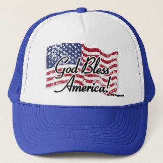 American Flag - God Bless America! - distressed Trucker Hat