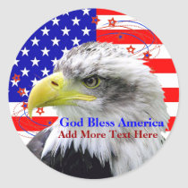 American Flag God Bless America Eagle Stickers