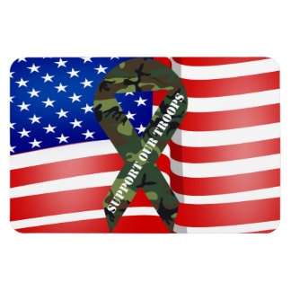 American Flag Green Camo Support Our Troops Magnet