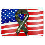 American Flag Green Camo Support Our Troops Rectangular Photo Magnet