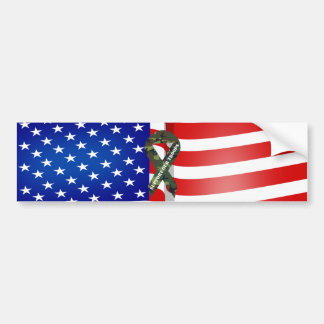 American Flag Green Camo Support Our Troops Ribbon Bumper Sticker
