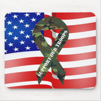 American Flag Green Camo Support Our Troops Ribbon Mouse Pad