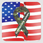 American Flag Green Camo Support Our Troops Square Stickers