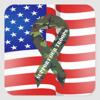 American Flag Green Camo Support Our Troops Square Sticker