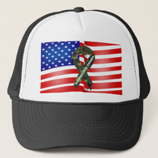 American Flag Green Camo Support Our Troops Trucker Hat