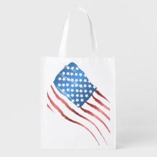 American Flag Grocery Bag