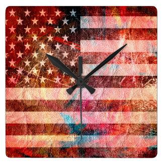 American Flag Grunge Art #5 Clock