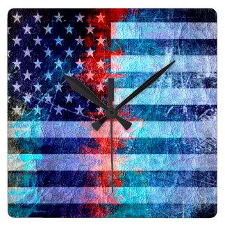 American Flag Grunge Art #6 Square Wallclocks