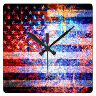 American Flag Grunge Art Square Wall Clock