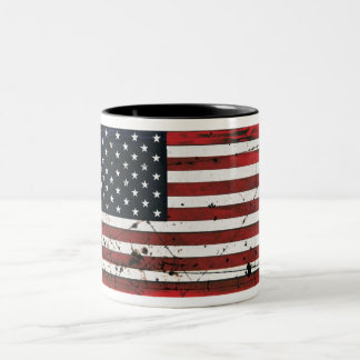 American flag grunge paint coffee mug
