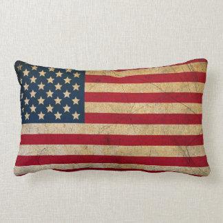 American Flag Grunge Style Lumbar Throw Pillow