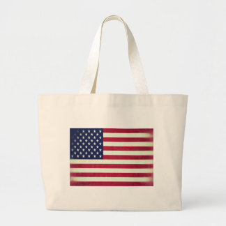 American flag (Grunged) Large Tote Bag