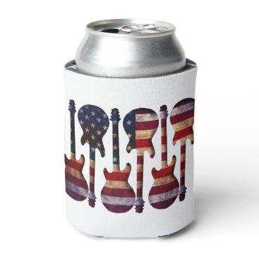 USA Themed American Flag Guitar Art Can Cooler