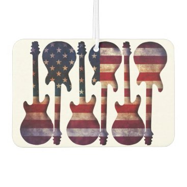 USA Themed American Flag Guitar Art Car Air Freshener