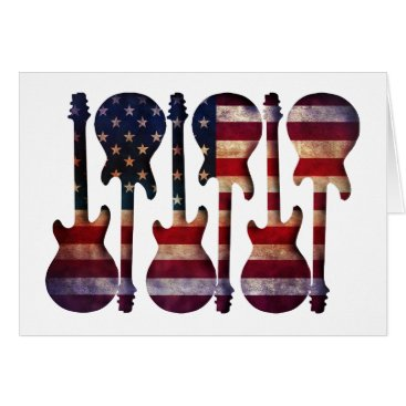 USA Themed American Flag Guitar Art Card