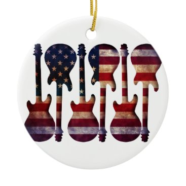 USA Themed American Flag Guitar Art Ceramic Ornament