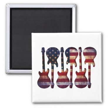 USA Themed American Flag Guitar Art Magnet