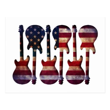 USA Themed American Flag Guitar Art Postcard