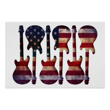 USA Themed American Flag Guitar Art Poster