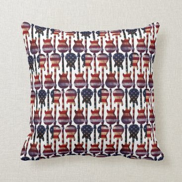 USA Themed American Flag Guitar Art Throw Pillow