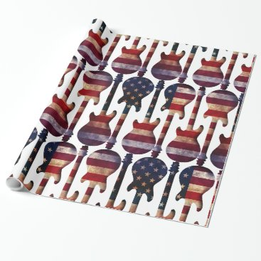 USA Themed American Flag Guitar Art Wrapping Paper