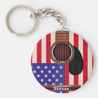American Flag Guitar Basic Round Button Keychain