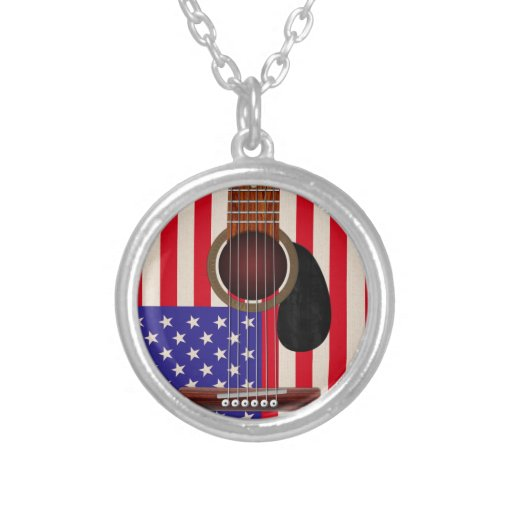 American Flag Guitar Round Pendant Necklace