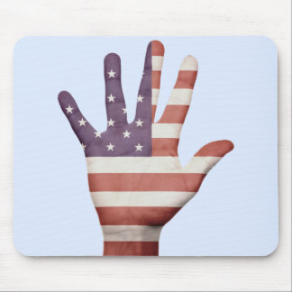 American Flag Hand Mouse Pad