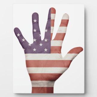American Flag Hand Plaque