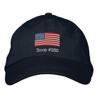 American Flag Hat with Modifiable Troop # below