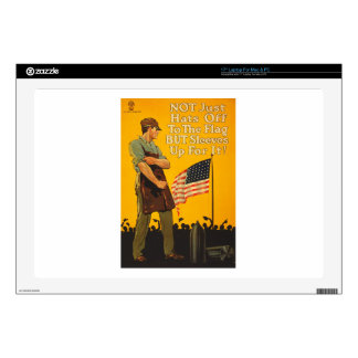 American Flag Hats Off Sleeves Up WWI Propaganda Decals For Laptops