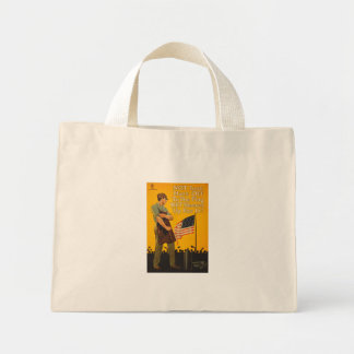 American Flag Hats Off Sleeves Up WWI Propaganda Mini Tote Bag
