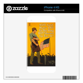 American Flag Hats Off Sleeves Up WWI Propaganda Skins For iPhone 4S