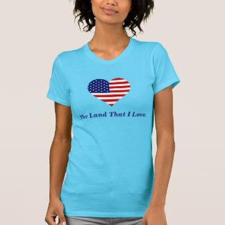American Flag Heart America The Land That I Love T-Shirt