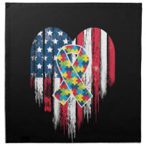 American Flag Heart Autism Awareness Cloth Napkin