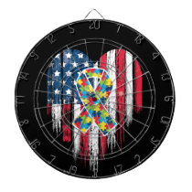 American Flag Heart Autism Awareness Dart Board