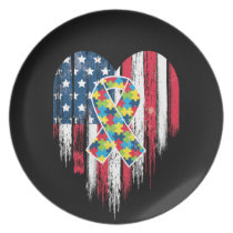 American Flag Heart Autism Awareness Dinner Plate