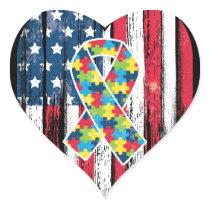 American Flag Heart Autism Awareness Heart Sticker