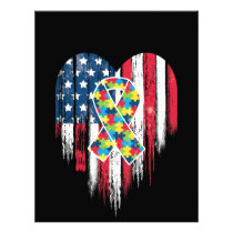 American Flag Heart Autism Awareness Letterhead
