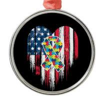 American Flag Heart Autism Awareness Metal Ornament