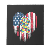 American Flag Heart Autism Awareness Notepad