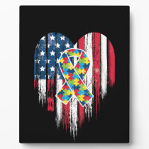 American Flag Heart Autism Awareness Plaque