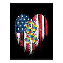 American Flag Heart Autism Awareness Postcard