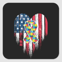 American Flag Heart Autism Awareness Square Sticker