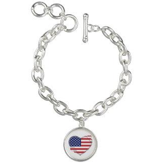 American Flag Heart Bracelet