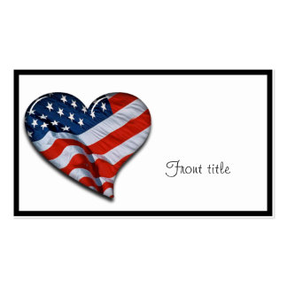 American Flag Heart Business Card