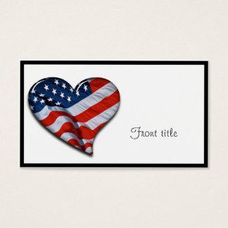 American Flag Heart Business Card